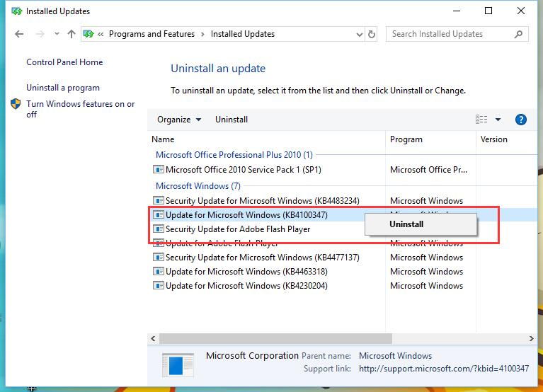 Uninstall an update KB4100347 for Windows 10 to improve CPU performance by 10%