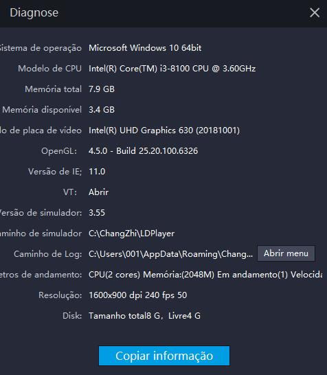 Como ver as configurações de PC no LDPlayer?