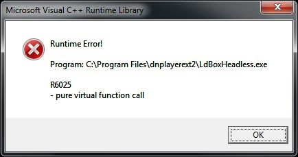 Microsoft visual c++ runtime library R6025 오류 해결 방법